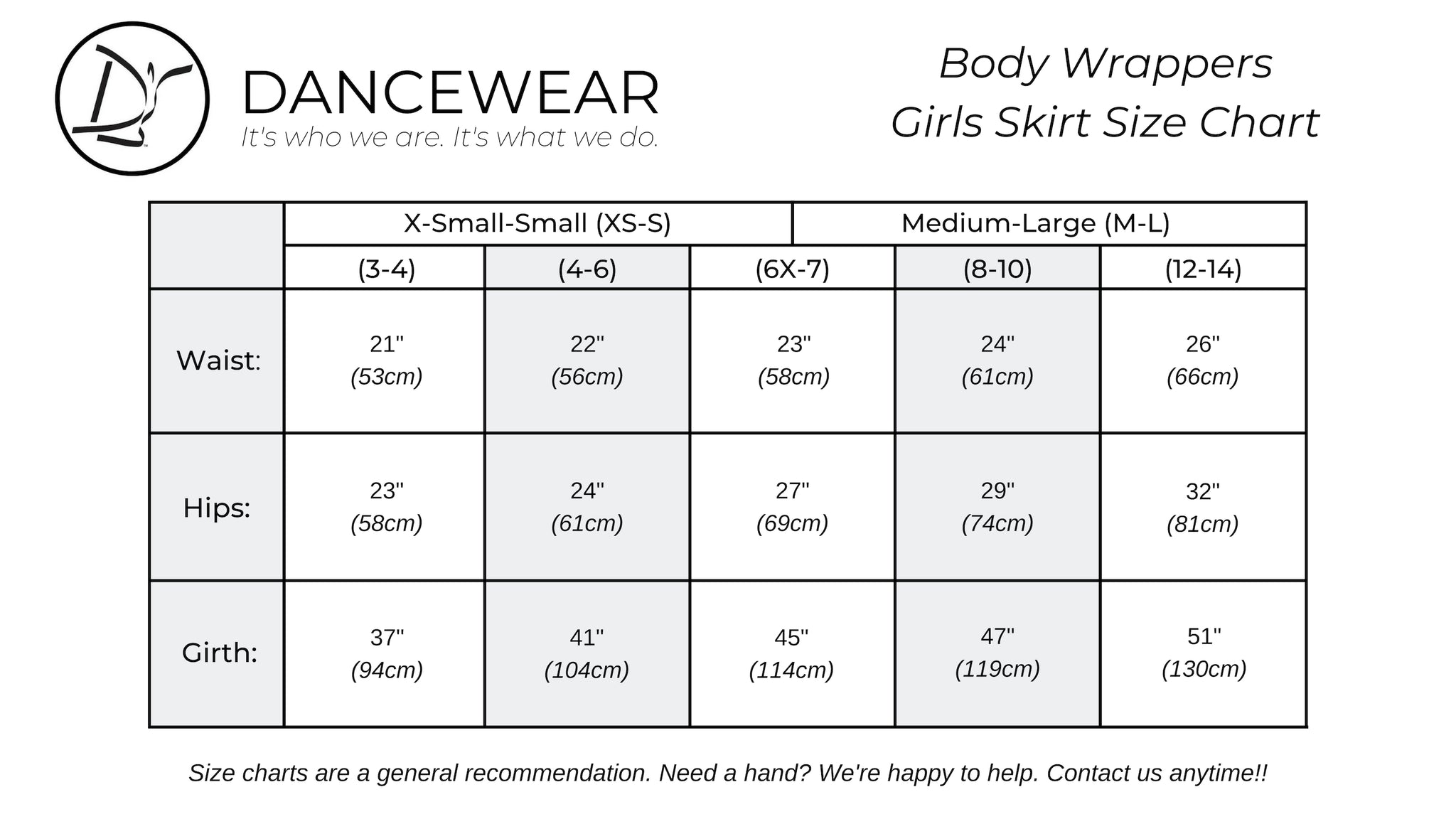 Body Wrappers Girls Skirt Size Chart