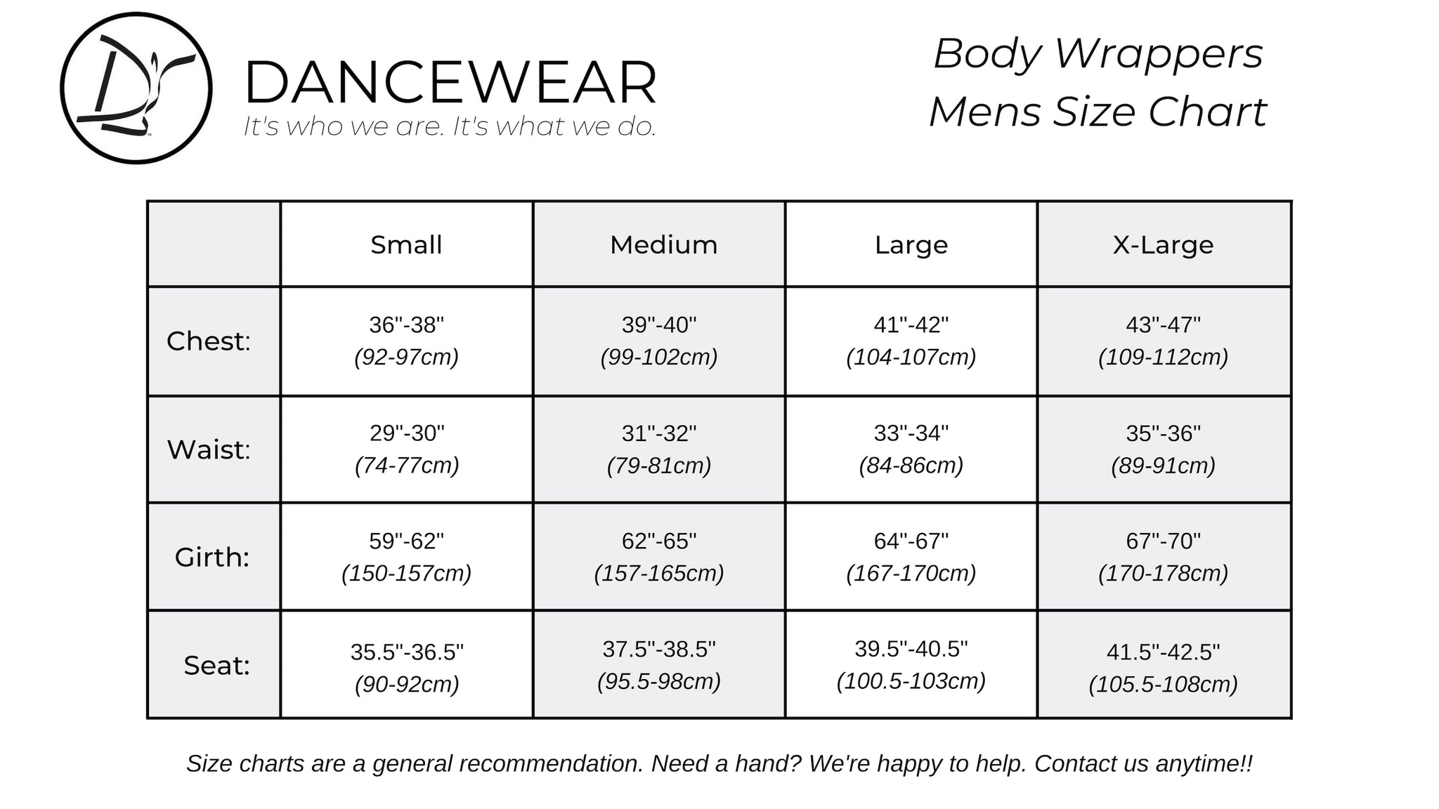 Body Wrappers Mens Size Chart