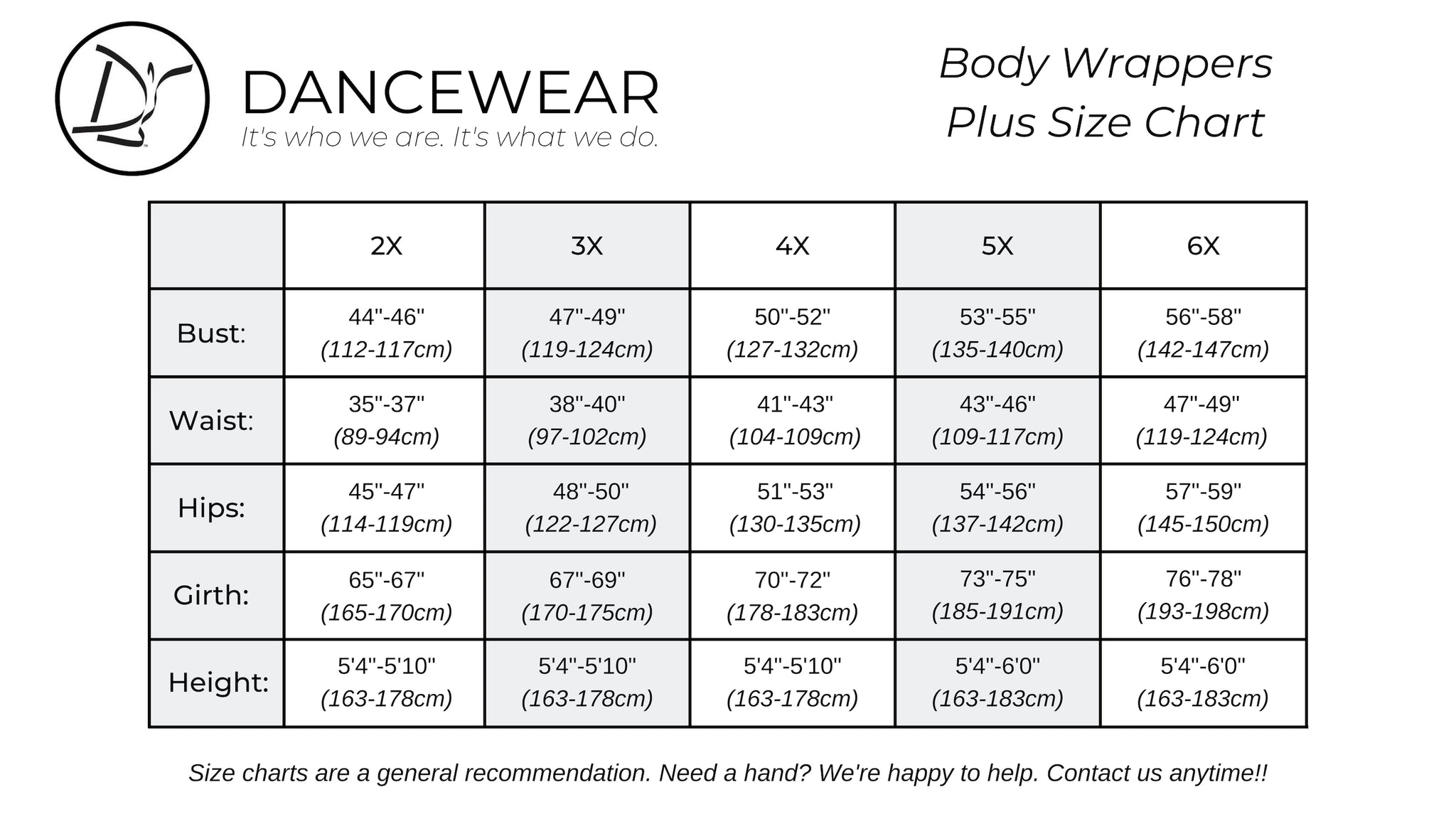 Body Wrappers Plus Size Chart
