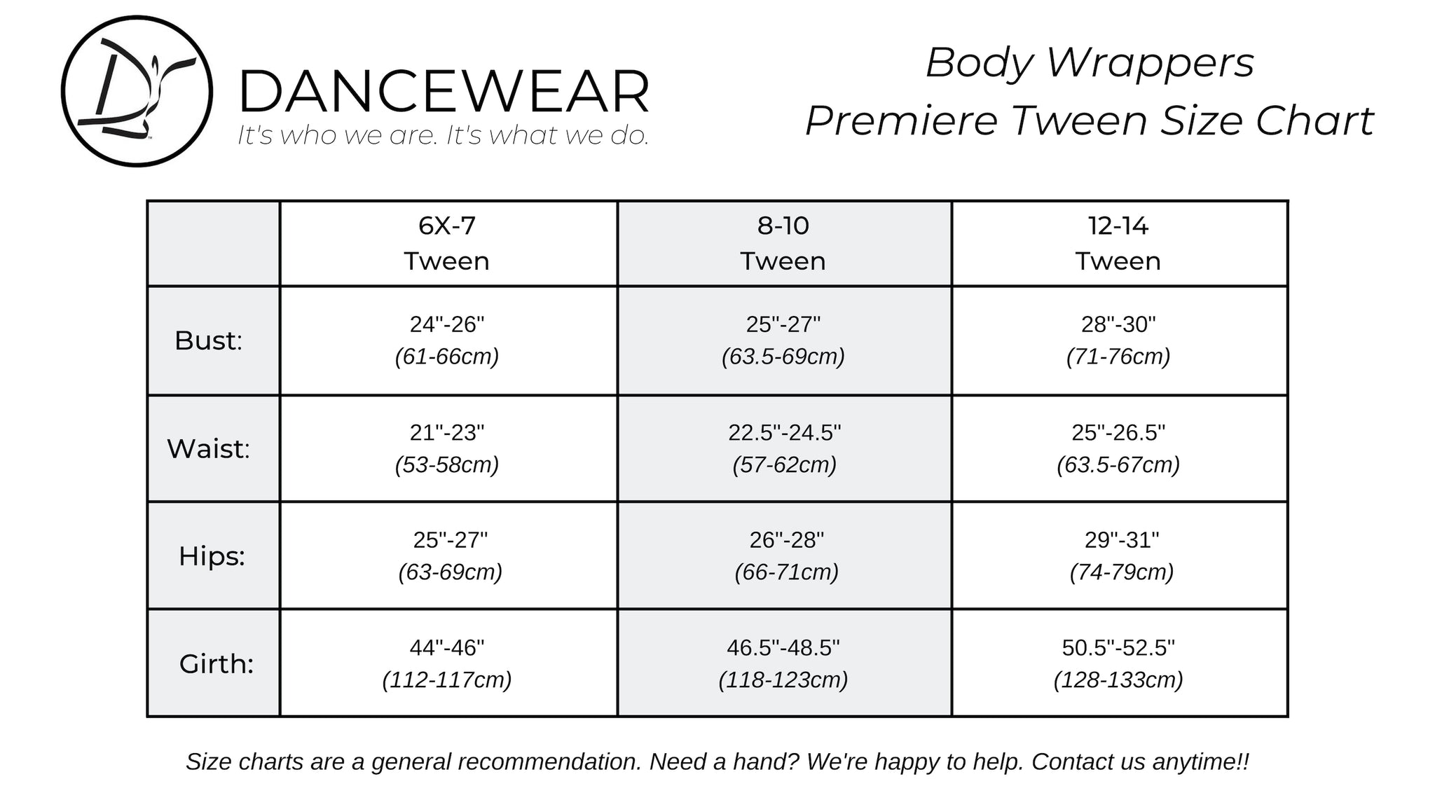 Body Wrappers Premiere Tween Size Chart