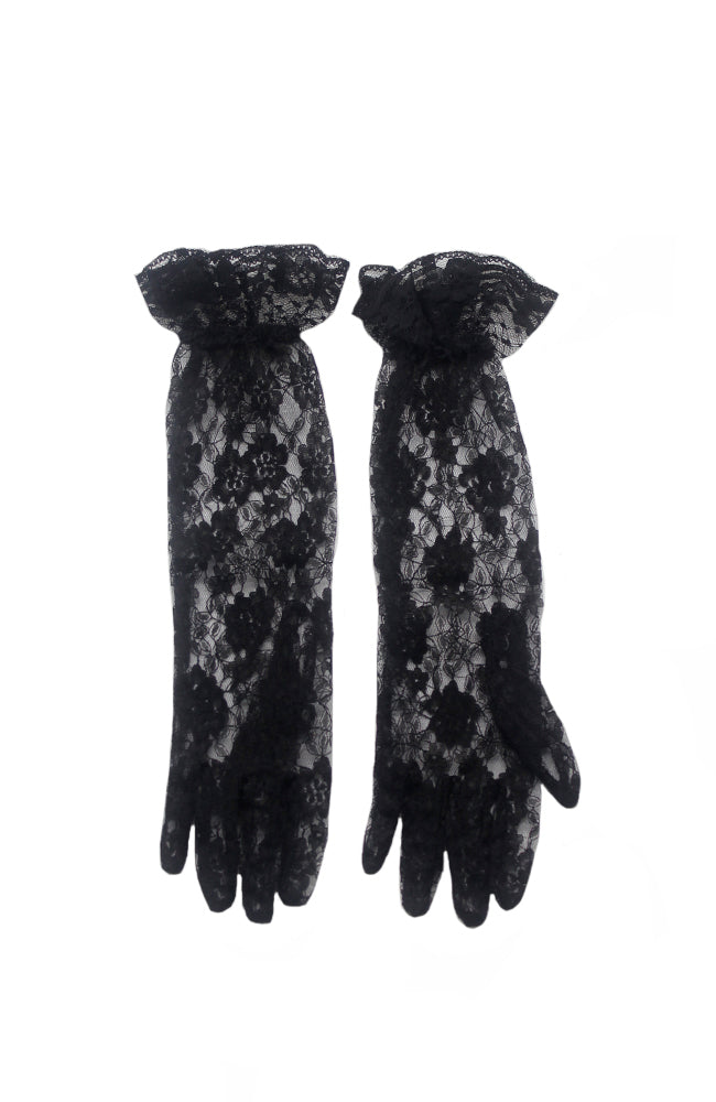16 Inches Ruffled Lace Gloves B1 Black