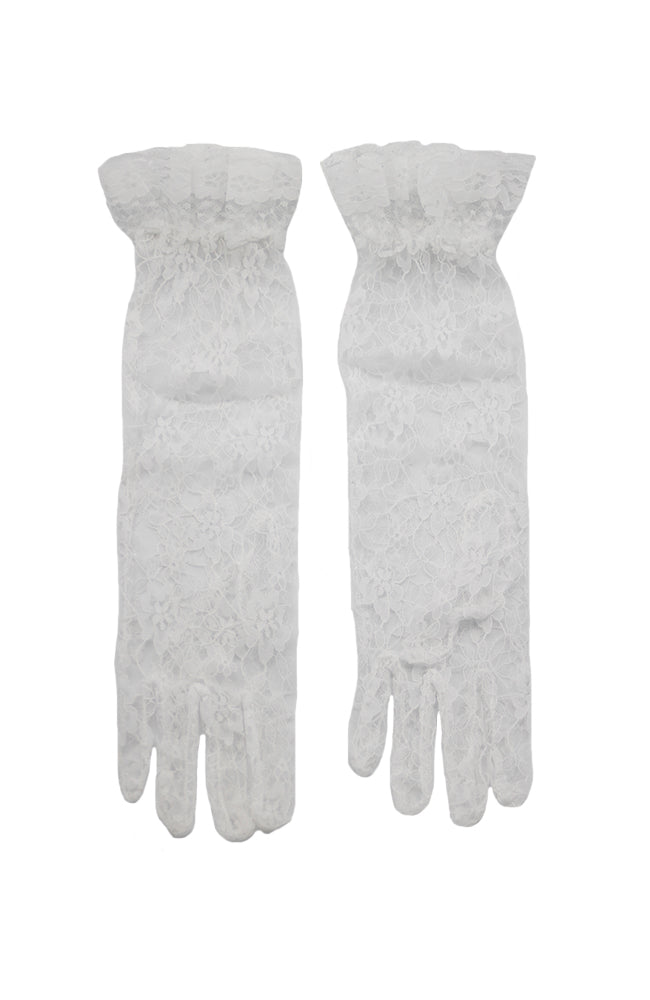 16 Inches Ruffled Lace Gloves B1 White