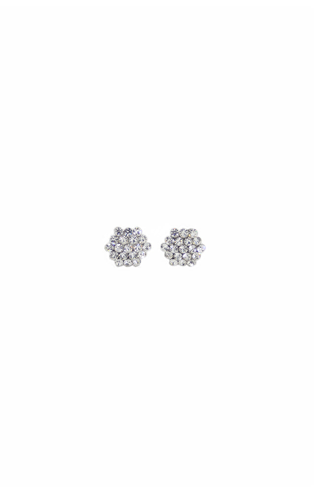 Clear Crystal Honeycomb Cluster Earrings