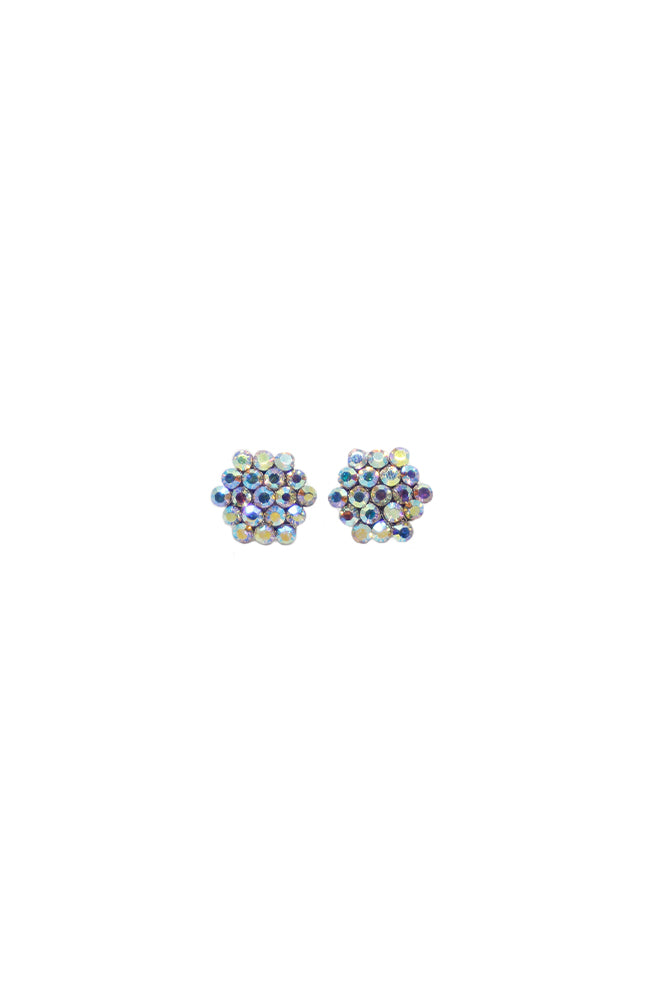 587AB-1 Large AB Cluster Clip Earrings
