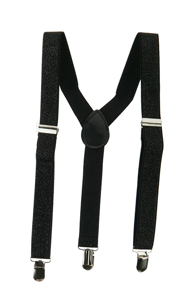 AC567 Black Glitter Adult Costume Suspenders