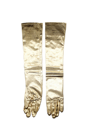 Adult Long Lame Gloves Gold HMS-1