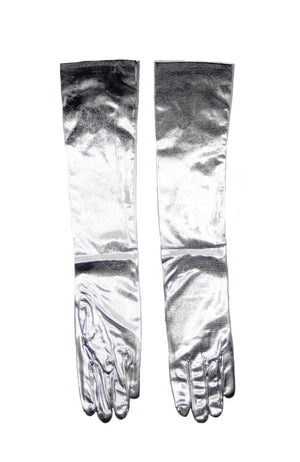 Adult Long Lame Gloves Silver HMS-1