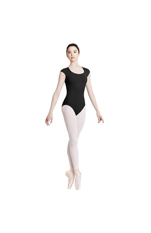 Bloch Mirella M5040LM Scallop Lace Back Cap Sleeve Leotard BLK