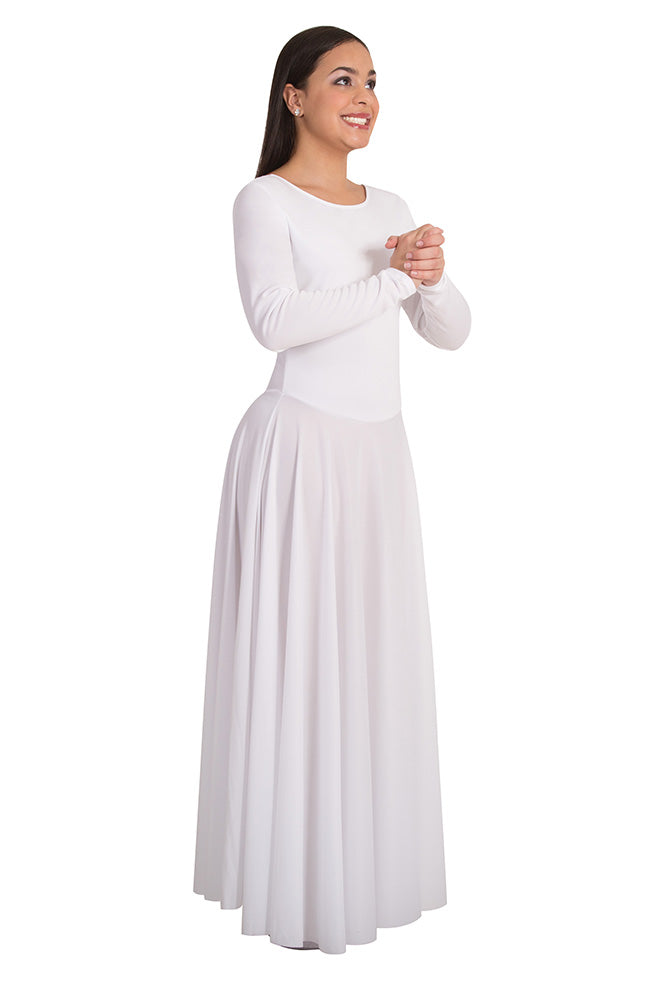 Body Wrappers 588 White Long Sleeve Praise Dress