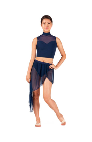 Body Wrappers BW9106 Asymmetrical Front Slit Chiffon Skirt Navy