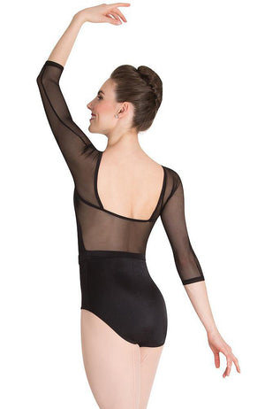 Body Wrappers P1042 Adult Dotted 3/4 Sleeve Bodysuit Black Back