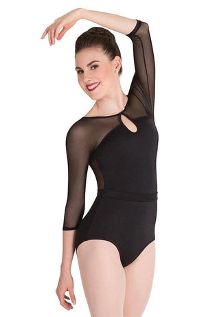 Body Wrappers P1009 Adult Mesh 3/4 Sleeve Bodysuit Black Front