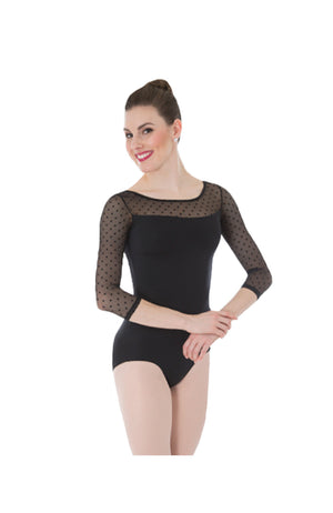 Body Wrappers P1042 Adult Dotted 3/4 Sleeve Bodysuit Black Front