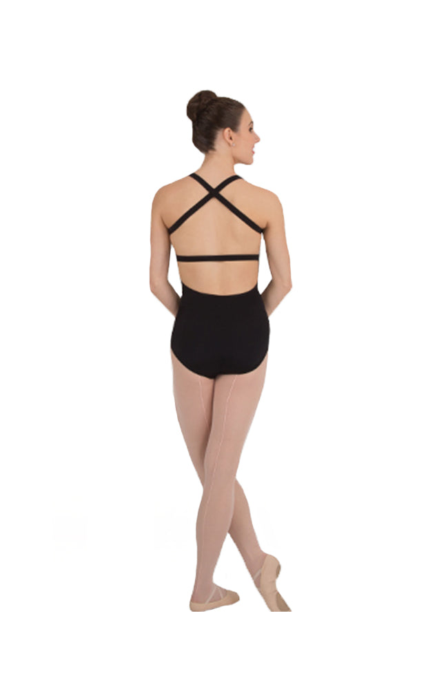 Body Wrappers P1071 Adult Cross-Back Tank Bodysuit Black Back
