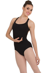 Body Wrappers P1071 Adult Cross-Back Tank Bodysuit Black Front