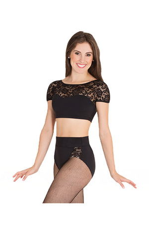 Body Wrappers Child Lace Cap Sleeve Crop Top