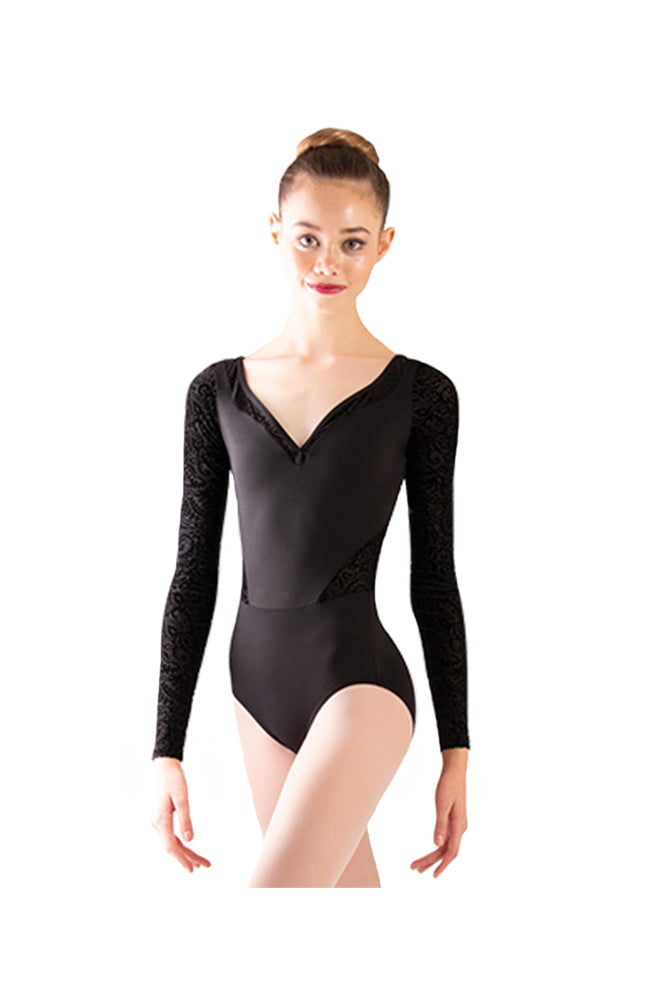 Body Wrappers P1250 Adult Long Sleeve Bodysuit Black Front