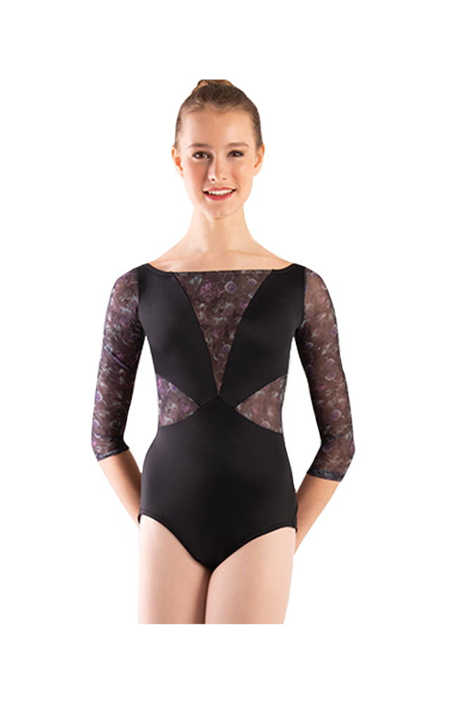 Body Wrappers 1302 Adult 3/4 Inch Sleeve Bodysuit Front