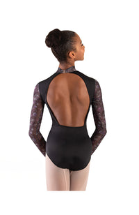 Body Wrappers P1303 Virginia Blooms Mock Neck Long Sleeve Leotard Back
