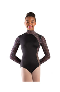 Body Wrappers P1303 Virginia Blooms Mock Neck Long Sleeve Leotard Front