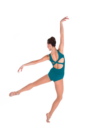 Body Wrappers P345 Boatneck Leotard Aquamarine Back