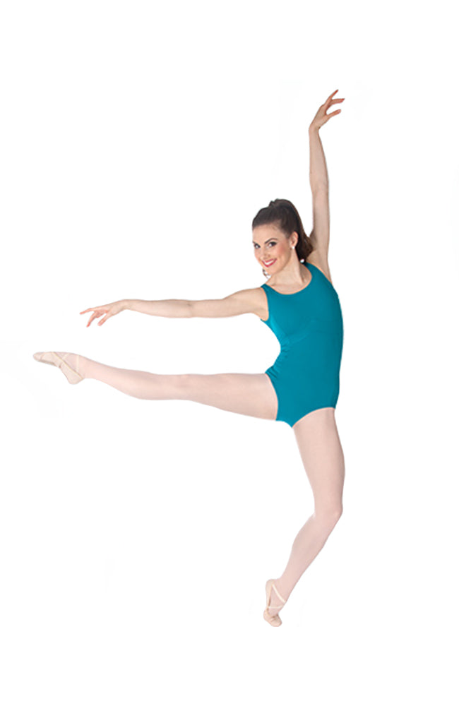 Body Wrappers P345 Boatneck Leotard Aquamarine Front