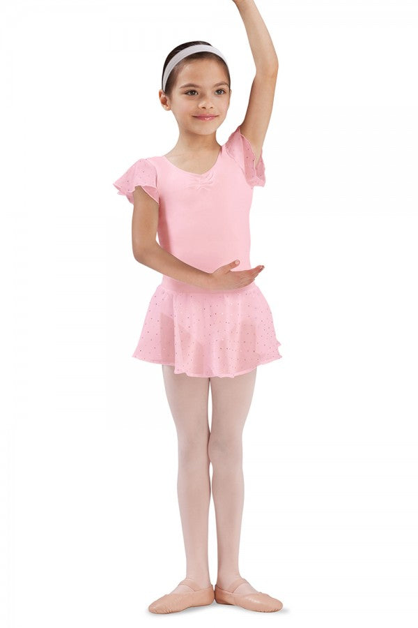 Bloch CR5161 Candy Pink Sequin Pull On Georgette Skirt