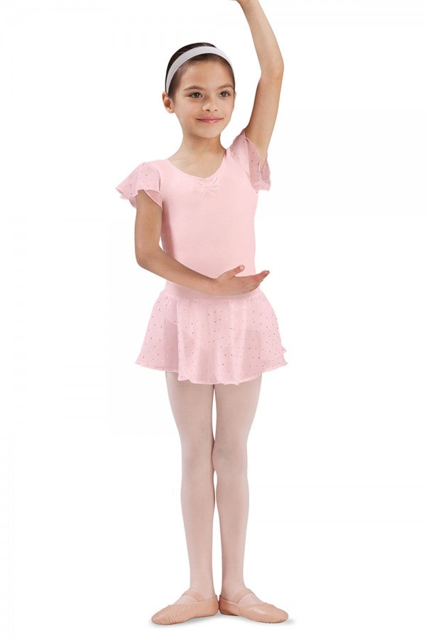 Bloch CR5161 Light Pink Sequin Pull On Georgette Skirt
