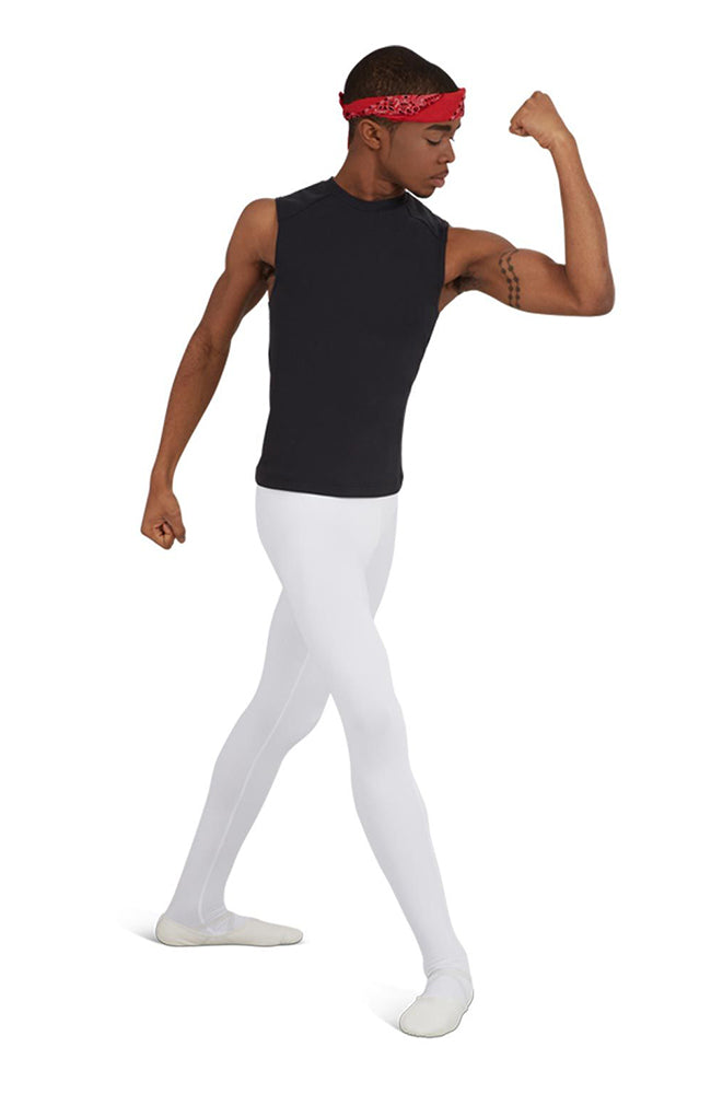 Capezio 10361M Mens White Footed Dance Tights