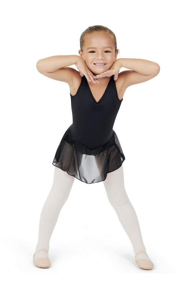 Capezio 11309C Child Black Pinch Front Tank Dress with Star Studded Skirt
