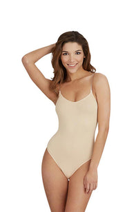 Capezio 3532 Adult Beige Bodysuit with Clear Straps