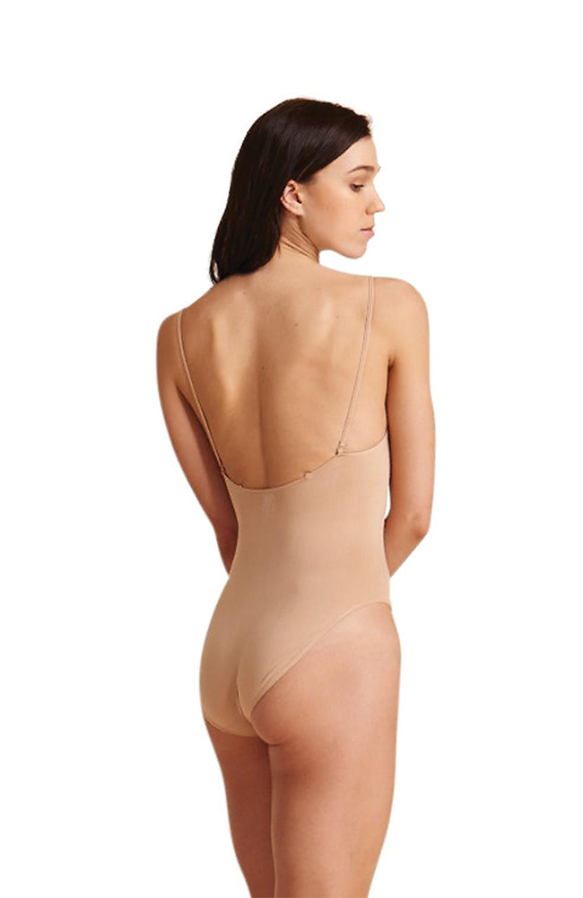 Capezio 3680 Beige Bodysuit with Clear Straps