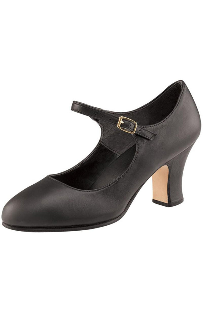 "Capezio 653 Black Manhattan 2.5"" Heel Character Shoes"