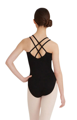 Capezio CC123 Adult Black Double Cross Back Bodysuit