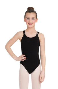 Capezio CC123C Child Black Double Strap Bodysuit