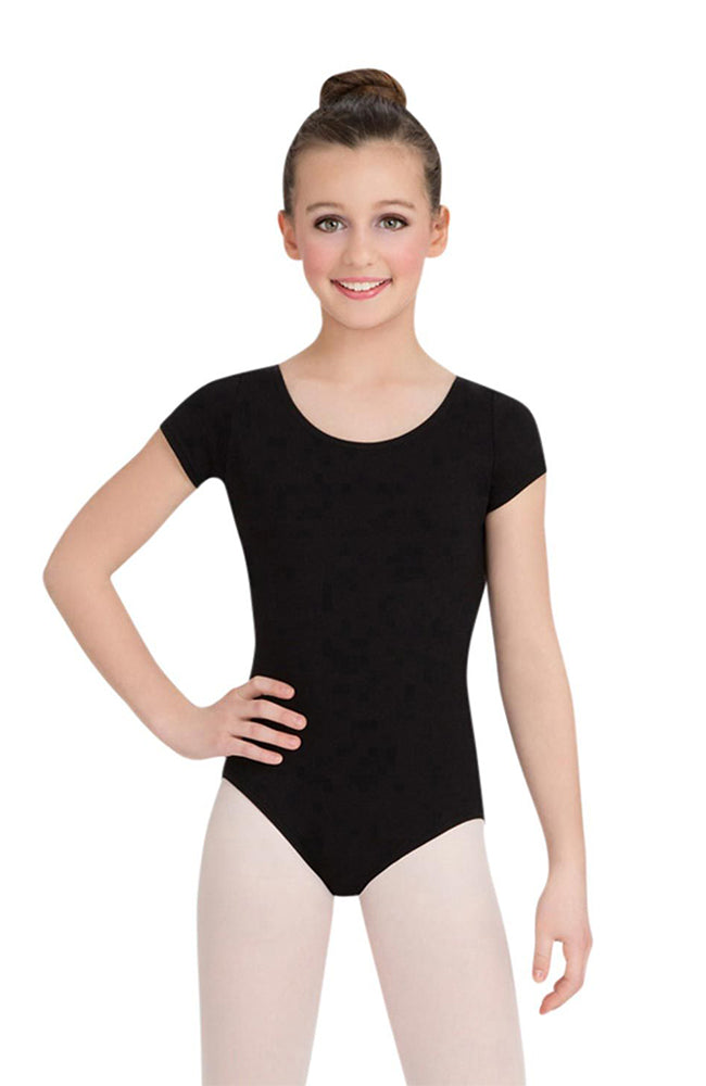 Capezio CC400C Child Black Short Sleeve Bodysuit