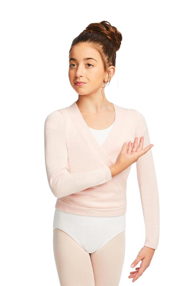 Capezio CK10949C Child Pink Long Sleeve Wrap Sweater