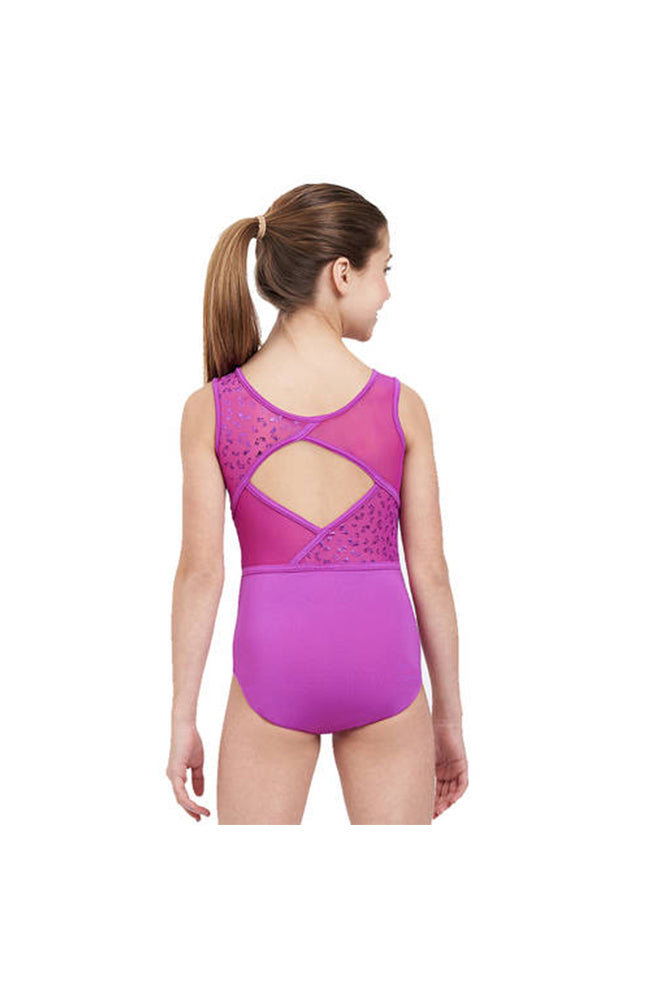 Capezio FS6771C Mesh Back Gymnastic Butterfly Shimmer Bodysuit Wild Berry Back
