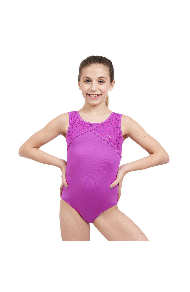 Capezio FS6771C Mesh Back Gymnastic Butterfly Shimmer Bodysuit Wild Berry Front