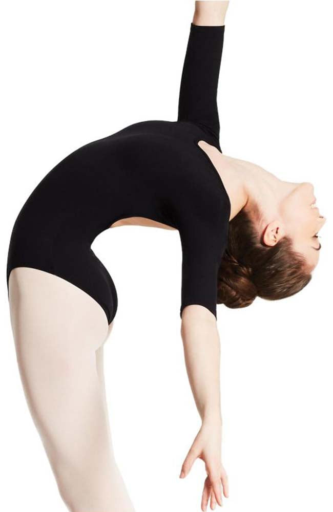 Capezio TB243W Adult Black Three Quarter Sleeve Bodysuit