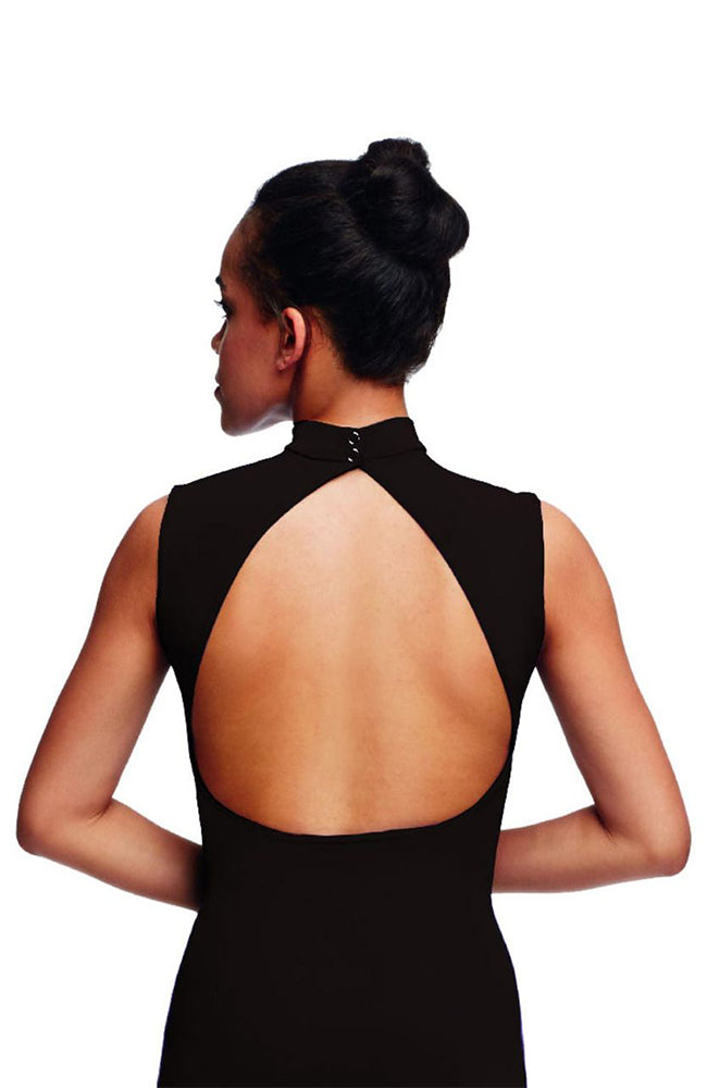 Capezio TC0048W Adult Black Polo Neck Open Back Bodysuit