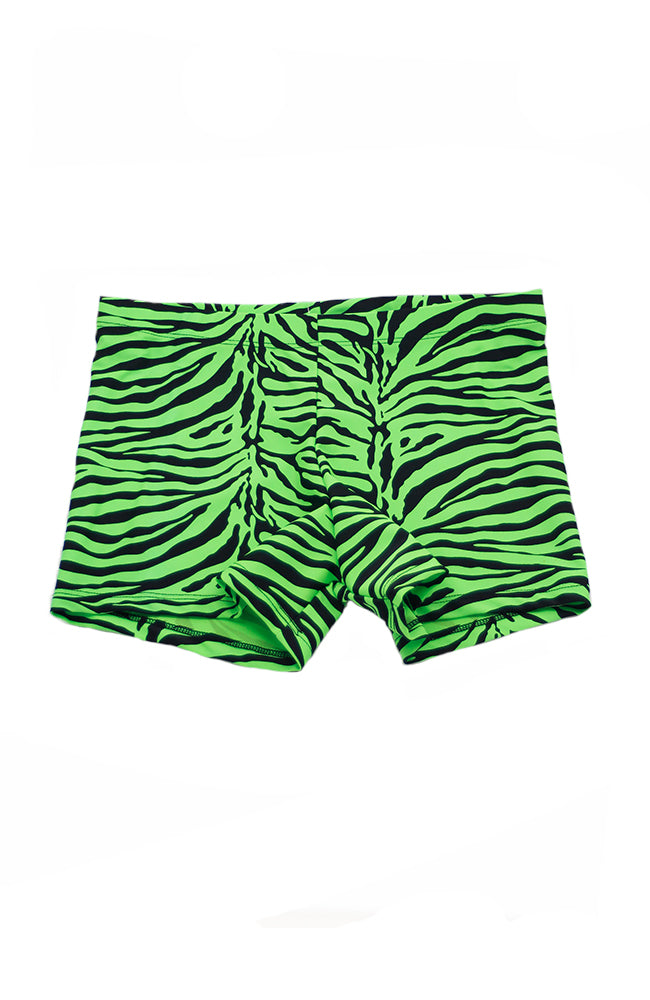 Danshuz 257A Black Lime Adult Zebra Booty Shorts