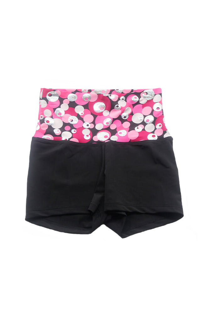 Danshuz DanzNMotion 224C Print High Waist Booty Shorts Bubbles