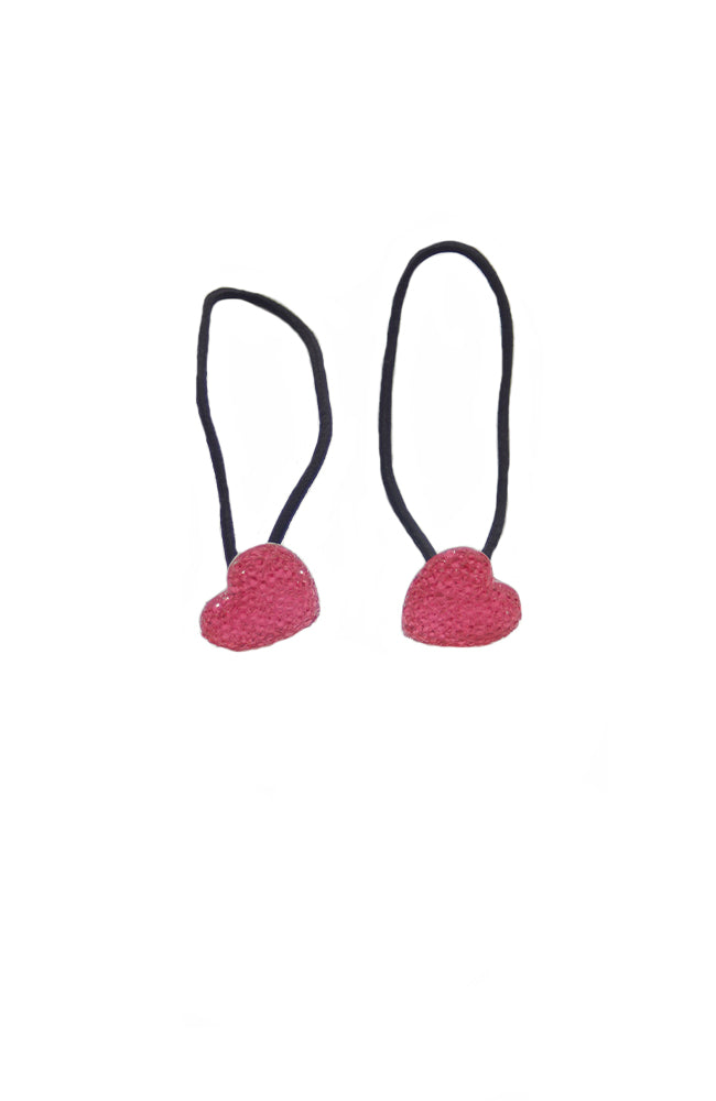 Dasha 3019HP Sparkly Heart Tap Ties Hot Pink