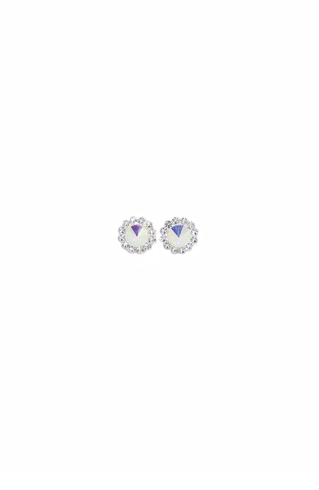 Iridescent Rhinestone Daisy Pierced Earrings