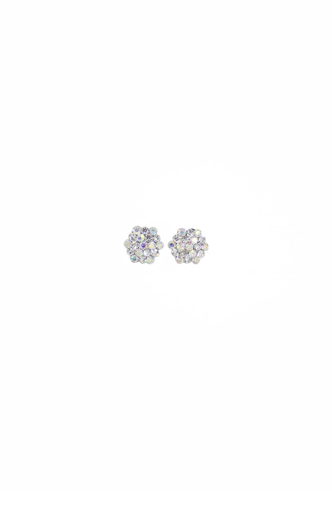Iridescent Rhinestone Cluster Pierced Earrings