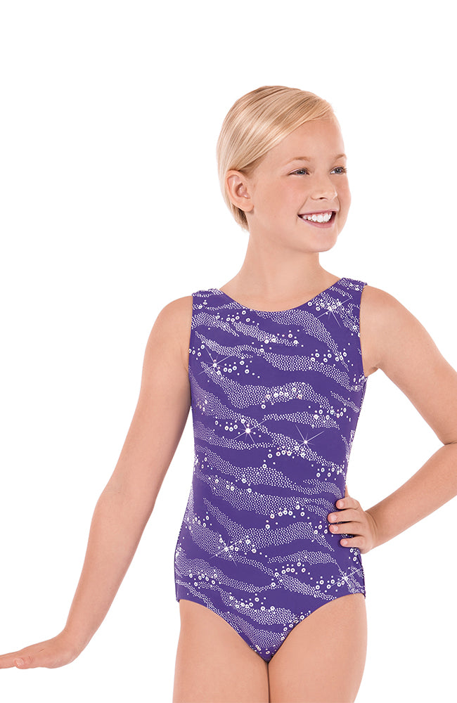 Eurotard 3089 Child Purple Sequin Gym Bodysuit