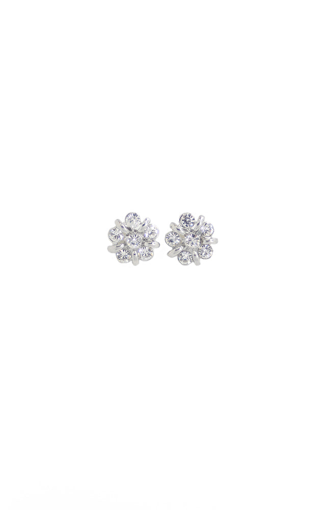 Glitter Pie Clear Pierced Flower Earrings