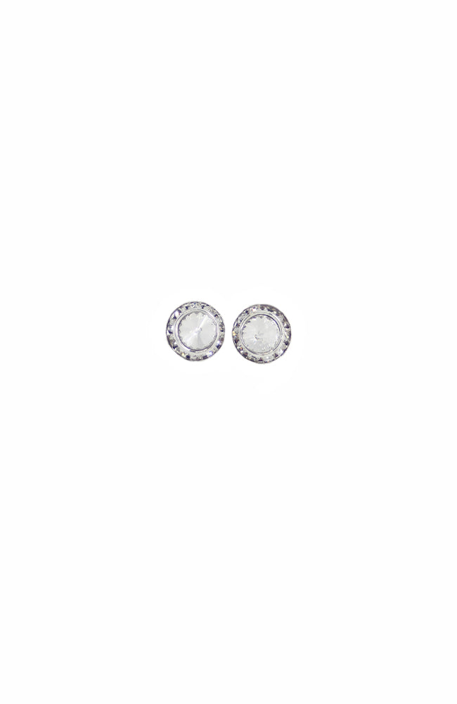 Glitter Pie Clear Crystal Clip On Earrings