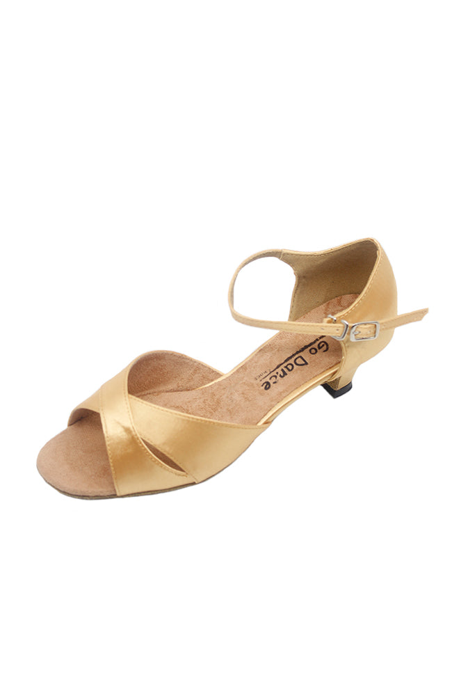 Go Go Dance GO7022 Dark Tan Satin 1.3 Inch Heel Ballroom Shoe